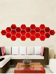 12 Pcs Creative 3D Hexagon Wall Sticker - RED