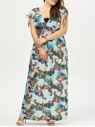 Plus Size Printed Short Sleeve Empire Waist Maxi Dress