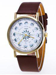Faux Leather Planet Pattern Watch - BROWN