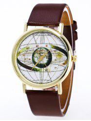Faux Leather Earth Quartz Watch