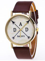 Faux Leather Arrow Analog Watch - BROWN