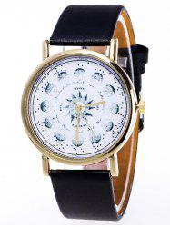 Faux Leather Planet Pattern Watch - BLACK