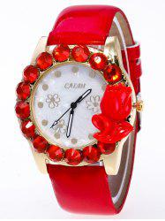 Faux Leather Rhinestone Flower Watch -