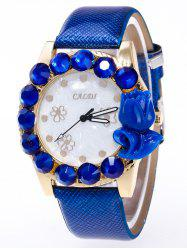 Faux Leather Rhinestone Flower Watch