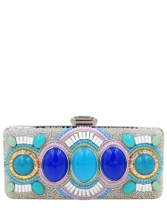 Faux Gems Beading Minaudiere - SILVER