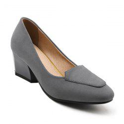 Suede Chunky Heel Pumps - GRAY