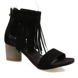 Chunky Heel Zipper Fringe Sandals
