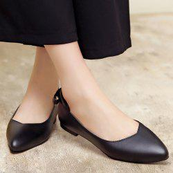Bow PU Leather Flat Shoes - BLACK
