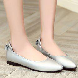 Bow PU Leather Flat Shoes