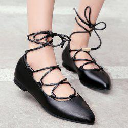 Tie Up Pointed Toe Flat Shoes - BLACK