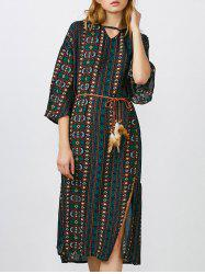 Bohemian Keyhole High Slit Midi Dress