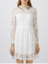 Pretty Flat Collar Lace Club Mini Skater Dress