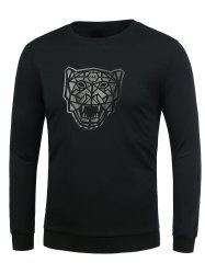 Rib Trim Lion Pattern T-Shirt