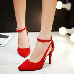 Hollow Out Ankle Strap Suede Pumps