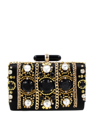 Beaded Rhinestone Satin Evening Bag - BLACK