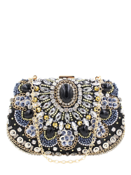 Rhinestone Beaded Satin Evening Bag - BLACK