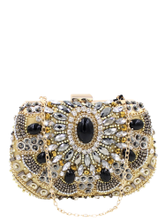 Rhinestone Beaded Satin Evening Bag - GOLDEN