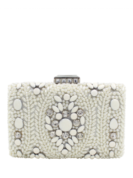 Metal Trimed Beaded Bags - WHITE
