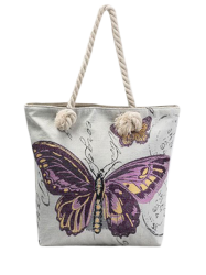 Butterfly Printed Canvas Shoulder Bag - PURPLE