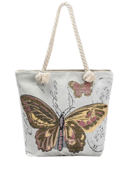 Butterfly Printed Canvas Shoulder Bag