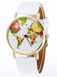 Faux Leather Watch with World Map -