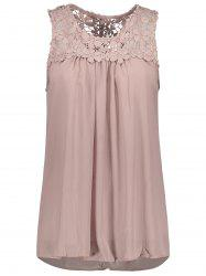 Sleeveless Lace Insert Criss Cross Chiffon Blouse - PALE PINKISH GREY