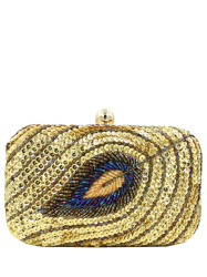 Leaf Pattern Sequins Glitter Evening Bag - GOLDEN