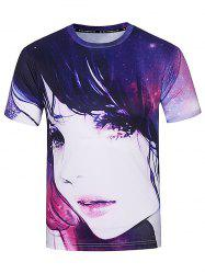 Crew Neck 3D Galaxy Girl Print T-Shirt