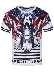 Crew Neck 3D Stars and Warplane Print T-Shirt