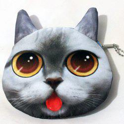 3D Cat Print Funny Coin Purse - SMOKY GRAY