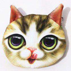3D Cat Print Funny Coin Purse - FLAX GREEN