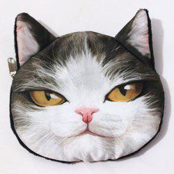 Novelty Cat 3D Print Coin Purse - WHITE