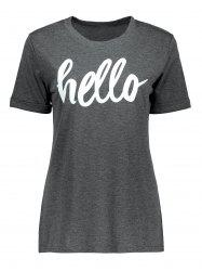 Cuffed Sleeve Hello Graphic T-Shirt