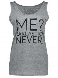 Casual Me Sarcastic Never Graphic Tank Top - GRAY
