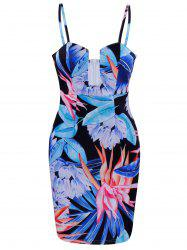 Floral Mini Bodycon Dress - BLUE