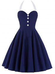 Halter Backless Mini Pin Up Dress -