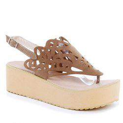 Platform Hollow Out Suede Sandals
