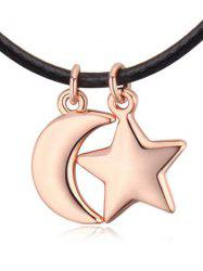Faux Leather Rope Moon Star Necklace