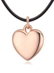 Faux Leather Rope Heart Necklace