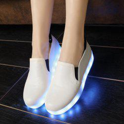 Led Luminous Faux Leather Flat Shoes