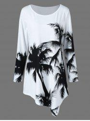 Plus Size Palm Print Asymmetrical T-Shirt - WHITE AND BLACK