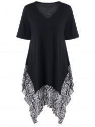 Plus Size Floral Trim Asymmetrical Longline T-Shirt - BLACK 5XL
