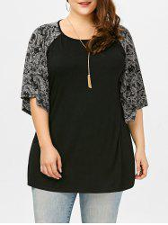 Plus Size Long Paisley Raglan Sleeve T-Shirt - BLACK