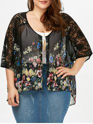 Floral Batwing Sleeve Sheer Plus Size Top