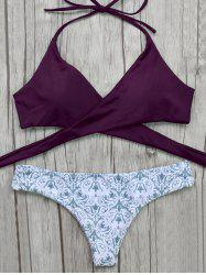 Halter Wrap Bikini Top and Baroque Print Bottoms -