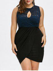 Keyhole Neck Lace Trim Bodycon Tulip Dress - BLUE