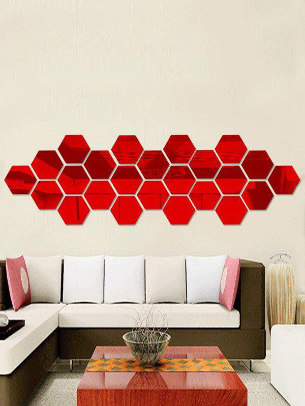 12 Pcs Creative 3D Hexagon Wall StickerHOME<br><br>Color: RED; Wall Sticker Type: 3D Wall Stickers; Functions: Decorative Wall Stickers; Theme: Shapes; Material: Acrylic; Feature: Removable; Size(L*W)(CM): 8*8CM; Weight: 0.0450kg; Package Contents: 12 x Wall Stickers(Pcs);