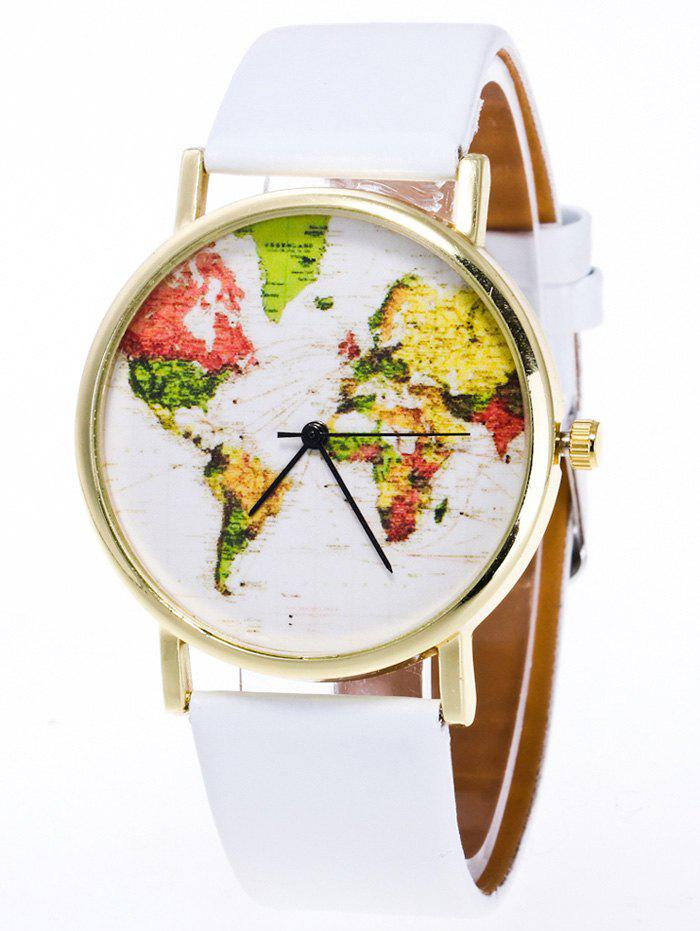 Faux Leather Watch with World MapJEWELRY<br><br>Color: WHITE; Gender: For Unisex; Style: Fashion; Type: Quartz watch; Index Dial: Analog; Case material: Alloy; Band material: PU Leather; Movement: Quartz; Dial Shape: Round; Water-Proof: No; Case Thickness(MM): 8mm; Dial Diameter: 4cm; Band Length(CM): 24cm; Band Width(CM): 2cm; Package Contents: 1 x Watch;