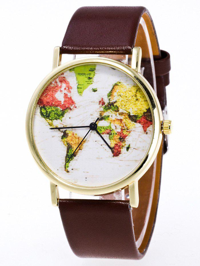 Discount Faux Leather Watch with World Map