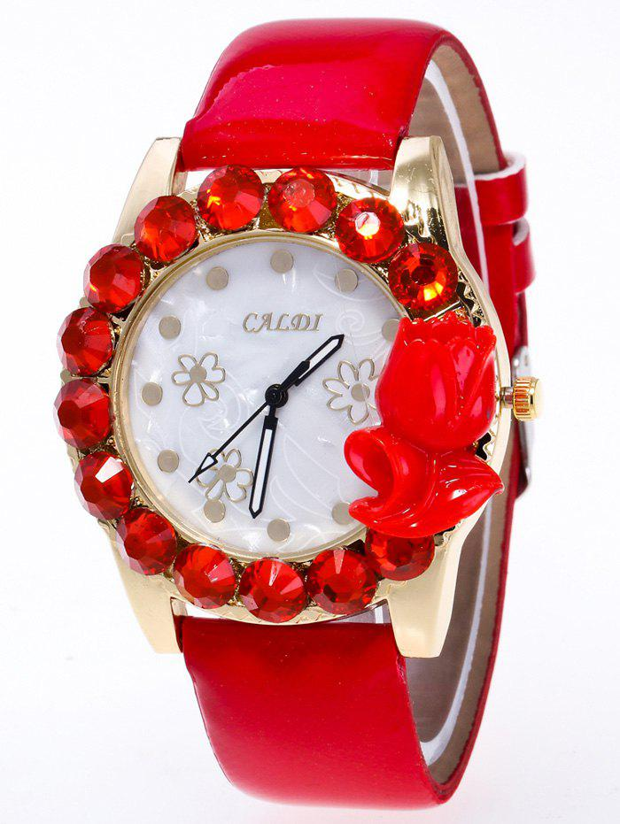 Discount Faux Leather Rhinestone Flower Watch